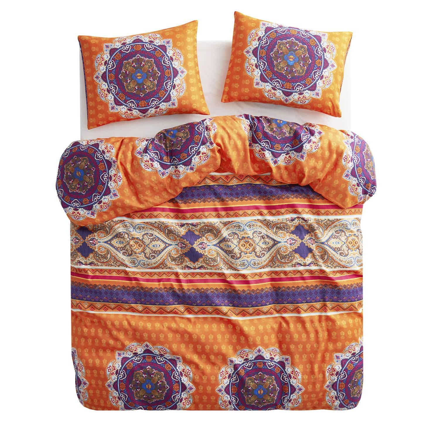 Wake In Cloud - Bohemian Duvet Cover Set, Orange Boho Chic Mandala Medallion Printed Soft Microfiber Bedding, with Zipper Closure (3pcs, King Size)