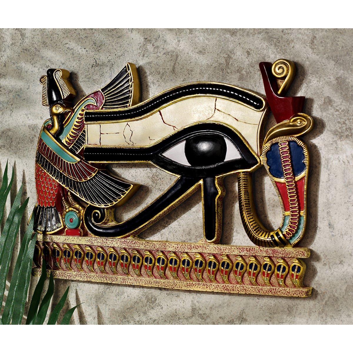 Full Color QL124212 Polyresin Design Toscano Egypitan Decor Eye of Horus Wall Sculpture Plaque 12 Inch
