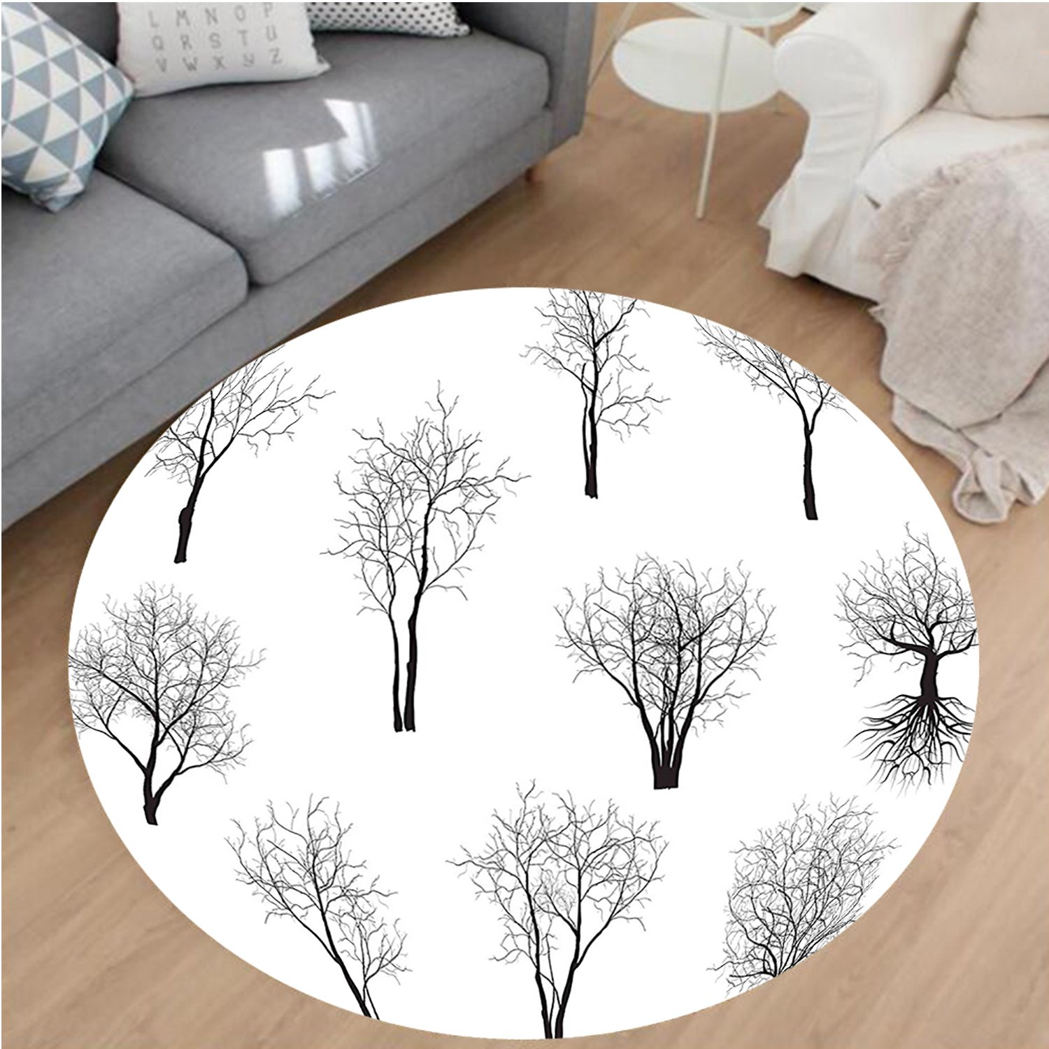 Nalahome Modern Flannel Microfiber Non-Slip Machine Washable Round Area Rug-t Decor Spooky Horror Movie Themed Branches Forest Trees Nature Art Print Black and White area rugs Home Decor-Round 75''
