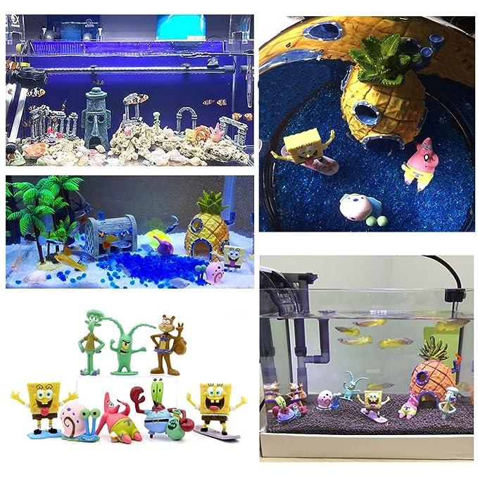 Adornos para acuario, con temática de Bob Esponja, 11 piezas: Amazon.es: Productos para mascotas