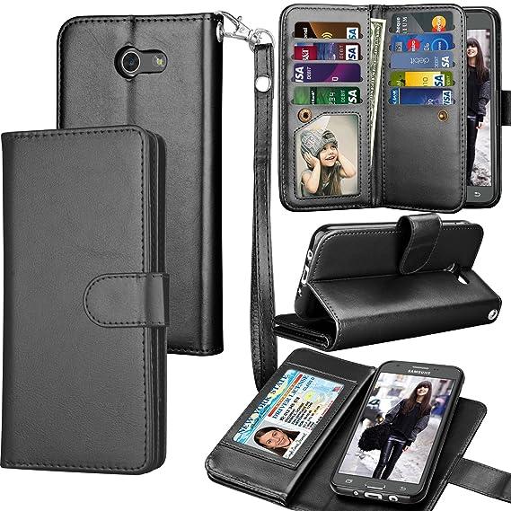 Tekcoo for Galaxy J3 Emerge / J3 Prime / J3 Luna Pro / J3 Mission / J3  Eclipse Wallet Case, Luxury PU Leather Credit Card Slots Holder Purse  Carrying