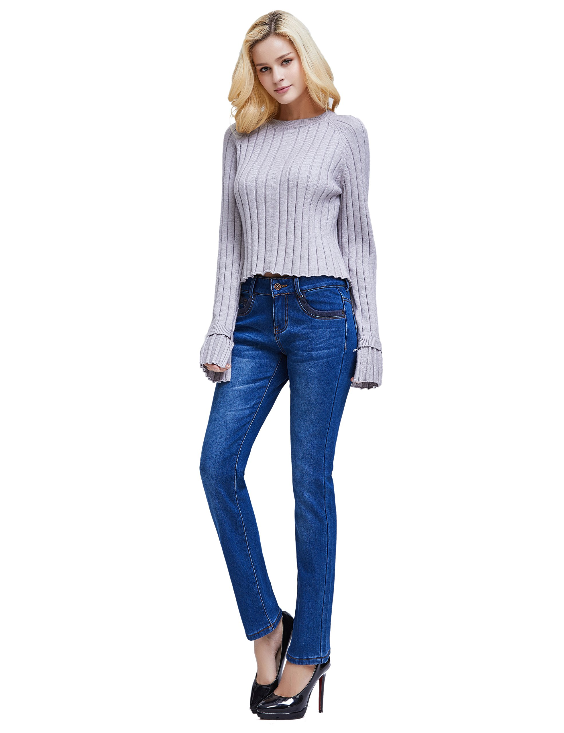 Camii Mia Women's Winter Slim Fit Thermal Jeans Pants (W28 x L30, Blue (New Size)) by Camii Mia (Image #6)