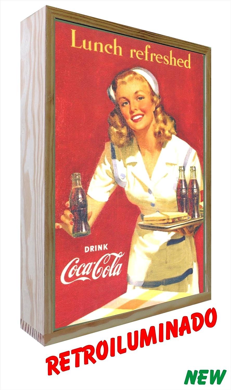 Cartel Vintage de Madera Iluminados. Coca-Cola Lunch ...