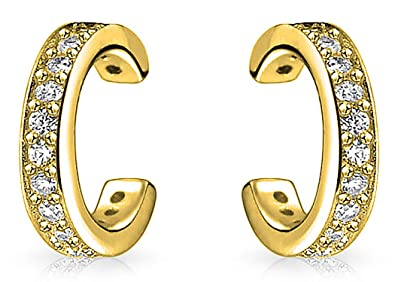 Bling Jewelry Petite Modern CZ Gold Plated Silver Ear Cuffs gchtD