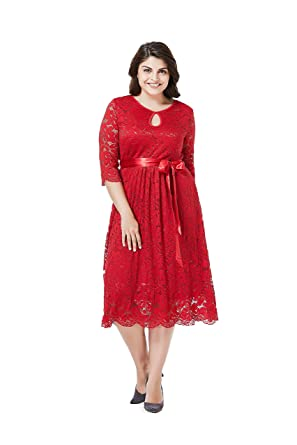 175db4ff9a4a GMHO Women s Plus Size Lace Mother of The Bride Formal A Line Dress (Red