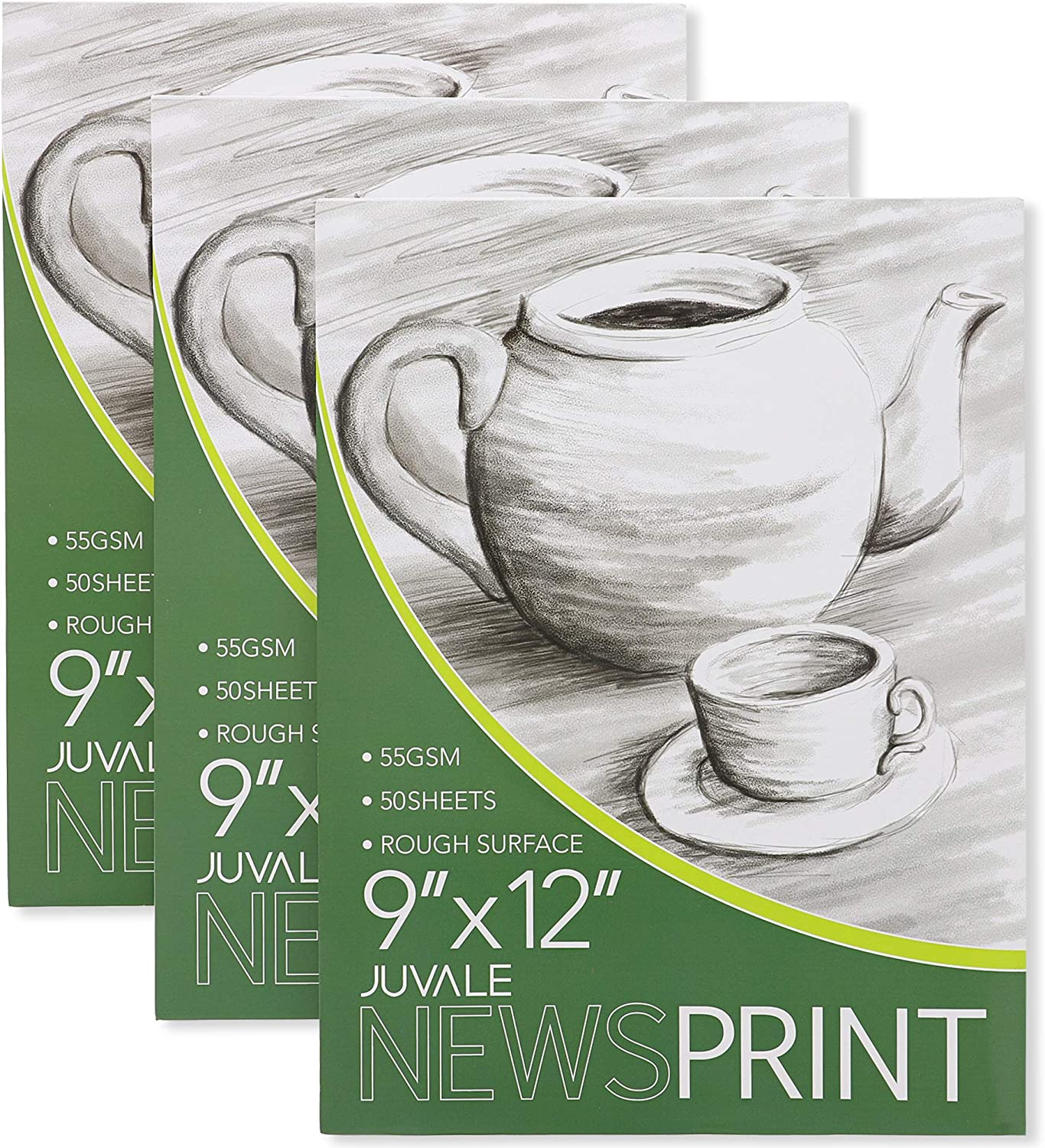 3 Pack Juvale Newsprint Drawing Paper Pads 50 Sheets