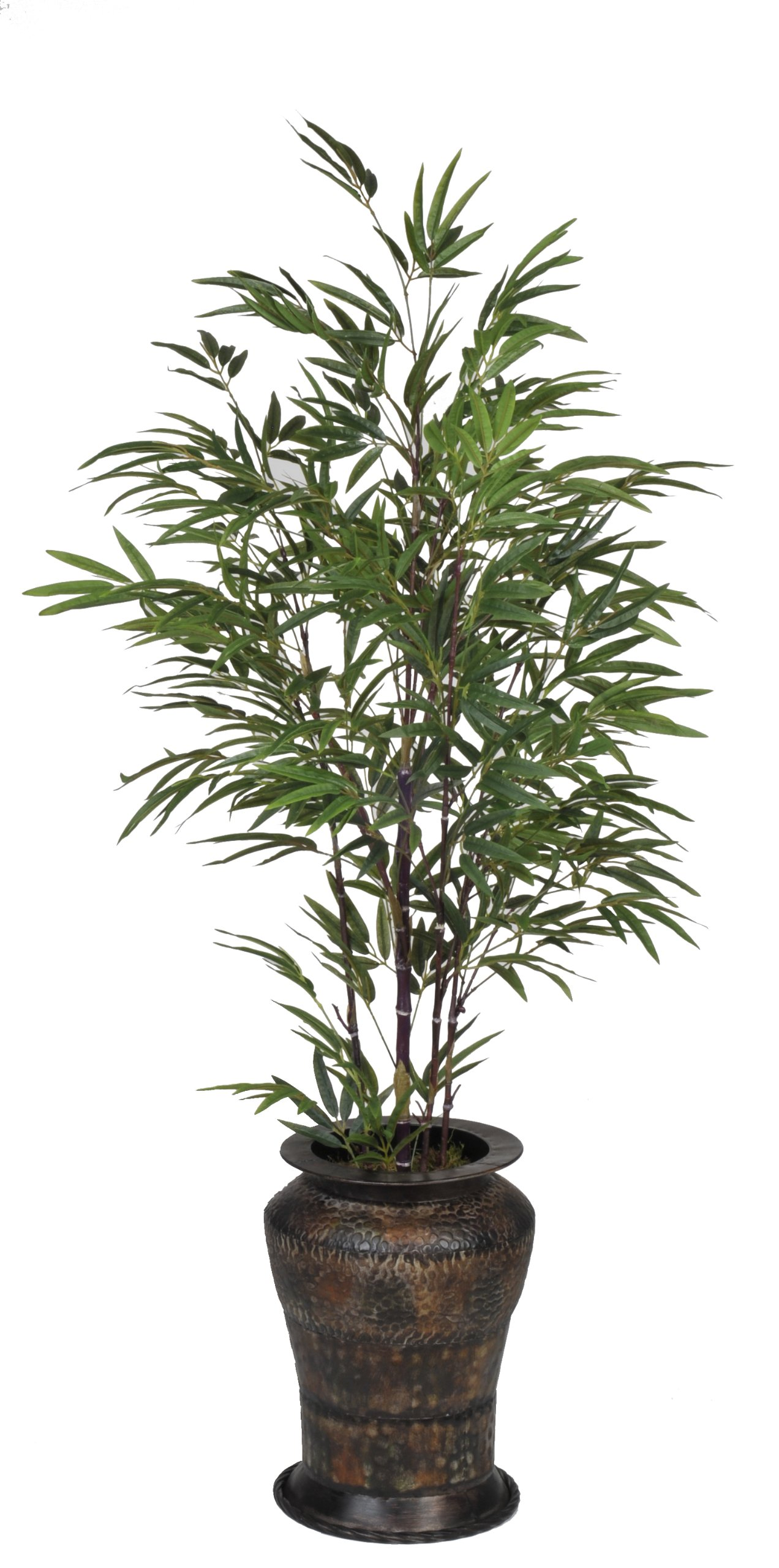 Artificial 5-foot Black Bamboo in Hammered Metal