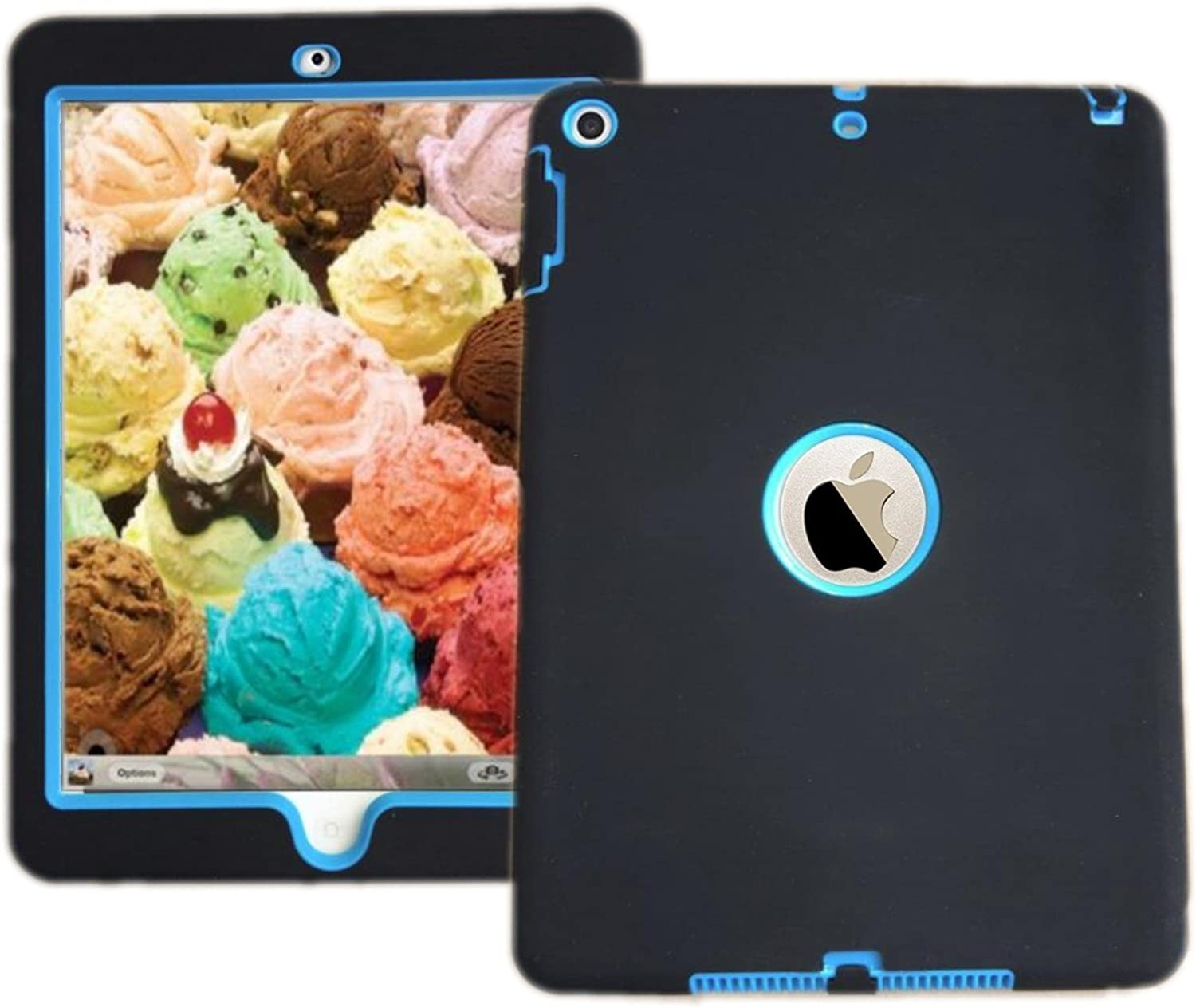 IPad Shockproof Case 3 in 1 Hybrid Rubber Back Cover Shell For New iPad 9.7 inch 2017 Version Model numbers A1822 A1823 MP2G2LL/A MP2J2LL/A MPGT2LL/A MPGW2LL/A MP2F2LL/A MP2H2LL/A Black with Blue