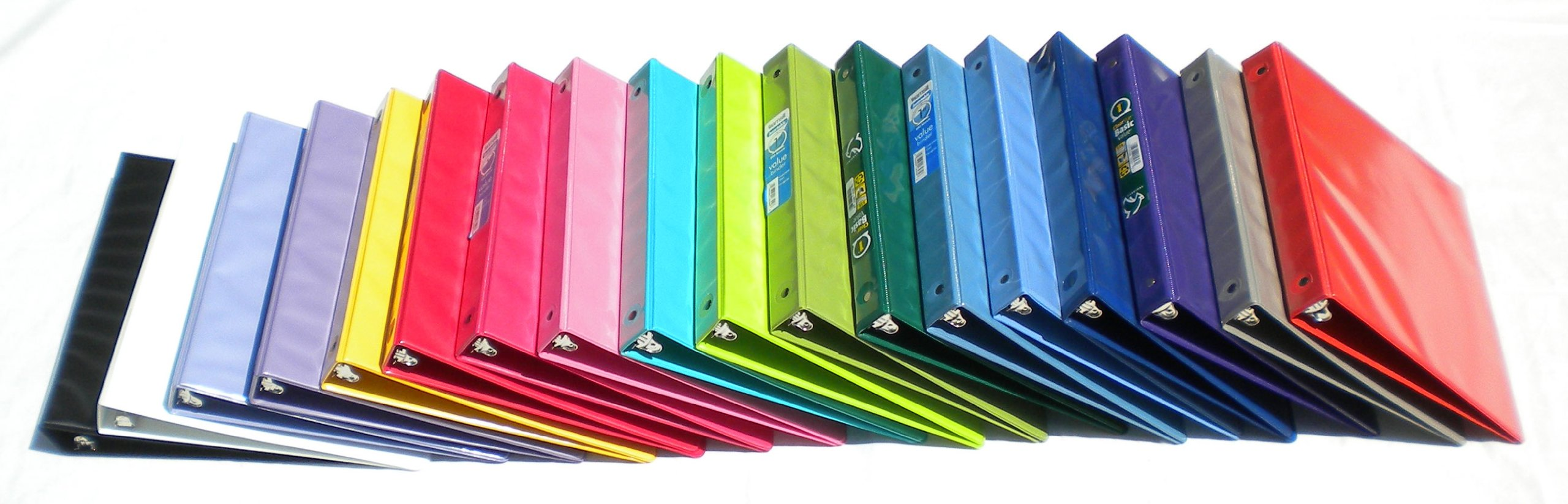 Samsill Assorted Colors 3-Ring View-Binders, 1-Inch Capacity, 8.5'' x 11'', with Insertion Sleeves and Inside Pockets, BOX OF 18