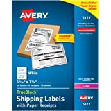 "Avery Shipping Labels w/ Paper Receipts and TrueBlock Technology for Laser Printers 5-1/16"" x 7-5/8"", Pack of 50 (5127)"