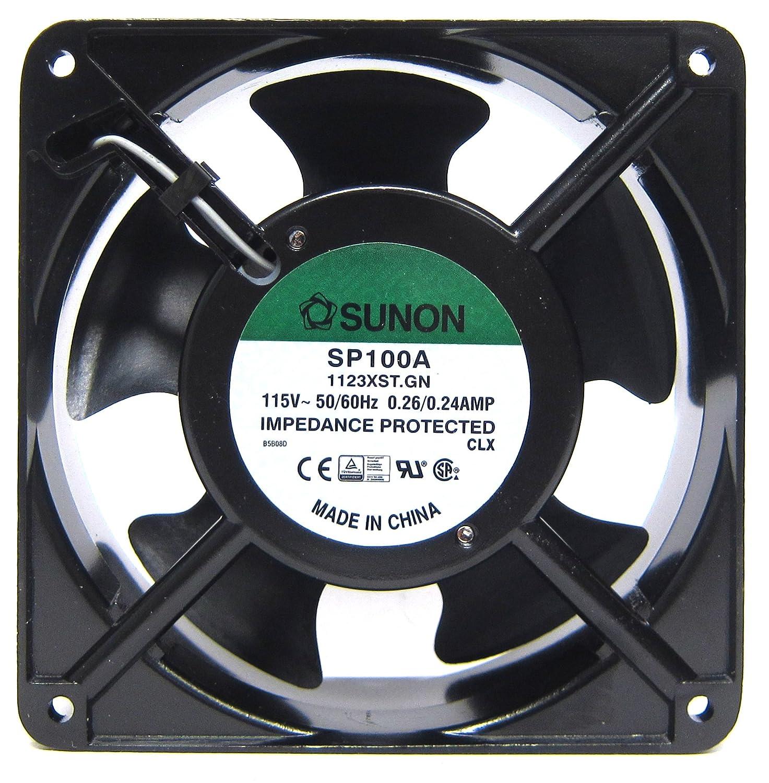 0.24 Amp 60Hz 20W 115V 1.5 3150 RPM SUNON SP100A-1123XBT-R AC Fan Ball 117 CFM 50dB Flange Mount