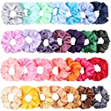 WATINC 28Pcs Silk Satin Hair Scrunchies Set for Women, Strong Elastic Hair Bobbles for Ponytail Holder, Colorful Hair Accessories Ropes Scrunchie, Solid Color Traceless Hair Ties
