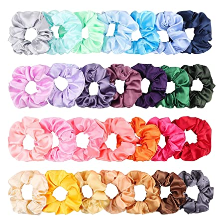 Hand Painted Silk Scrunchies Pink Green
