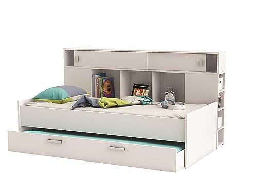 Bett mit bettkasten 90x200  Jugendbett Bettkasten Bett mit zwei Schlafplätzen Weiß Kombibett ...