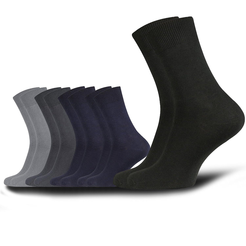 10 pares de calcetines para hombre 100% algodón peinado - calcetines de negocios y de ocio como una clasificación de color oscuro
