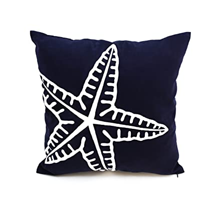Astounding Kainkain Nautical Throw Pillow Cover Starfish Ocean Theme Decor Navy Blue White Couch Sofa Pillow Embroider Coastal Beach House Cottage Cushion 20 Andrewgaddart Wooden Chair Designs For Living Room Andrewgaddartcom