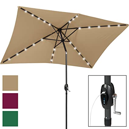 Best Choice Products 10x6.5ft Rectangular Solar LED Patio Umbrella W/USB  Charger,