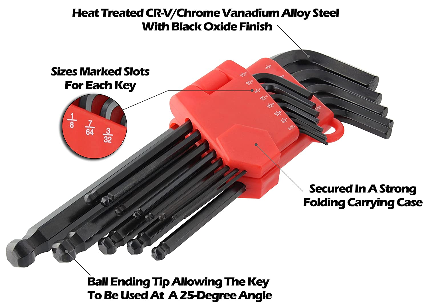 Drixet Long Arm Ball Point Hex Socket Driver Allen Key SAE-Inch /& Metric Set with A Storage Case. 26 Piece