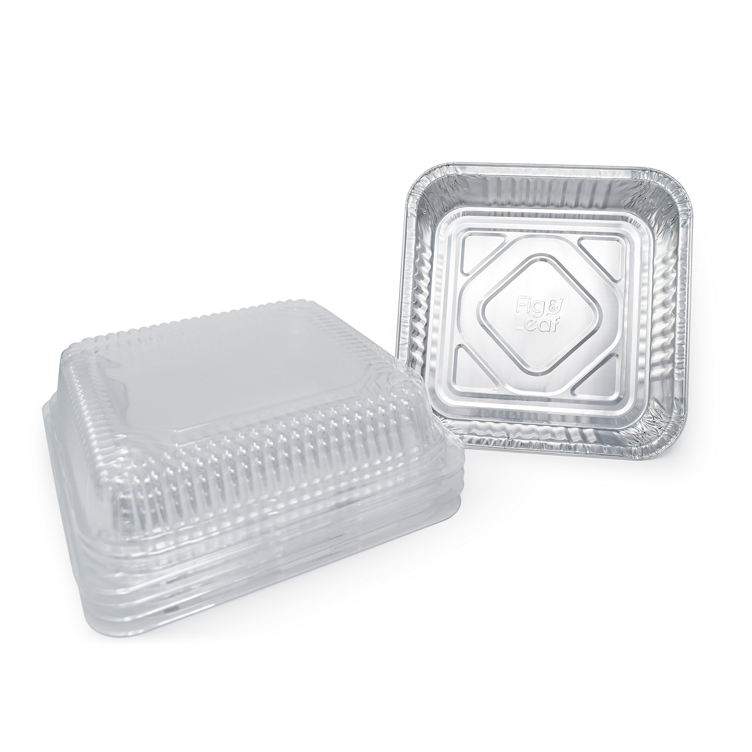 "(210 Pack) Square Baking Pans with LIDS | Size 8 x 8 | Disposable Aluminum Foil Tins with 2"" High Wall l Top Baker's Choice"