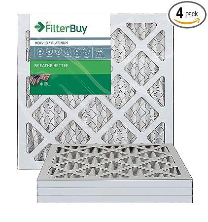 FilterBuy 14x14x1 MERV 13 Pleated AC Furnace Air Filter, (Pack of 4 Filters), 14x14x1 – Platinum