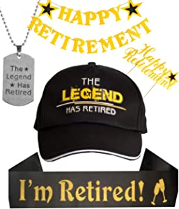 Happy Retirement Banner, The Legend has Retired Sash and Hat/ Baseball Cap Gold, The Legend has Retired Necklace, Retirement Party Supplies Gifts and Decorations, Retirement Supplies