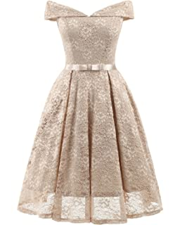 REMASIKO Womens Lace Bridesmaid V Neck Formal Wedding Party Cocktail Midi Dress