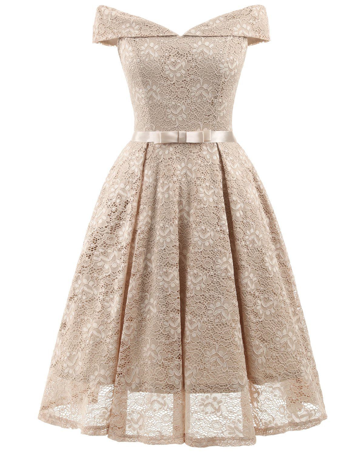 8001e56f4e8 ... Friday REMASIKO Womens Lace Bridesmaid V Neck Formal Wedding Party  Cocktail Midi Dress Beige XX-Large.   