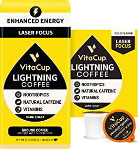 VitaCup Lightning Strong & Smart Dark Roast Coffee Bag & Pod Bundle   Energy Focus Nootropics I Vegan I B & D3 Vitamins Infused I 16 Count Pod & 12 oz Ground Coffee Bag