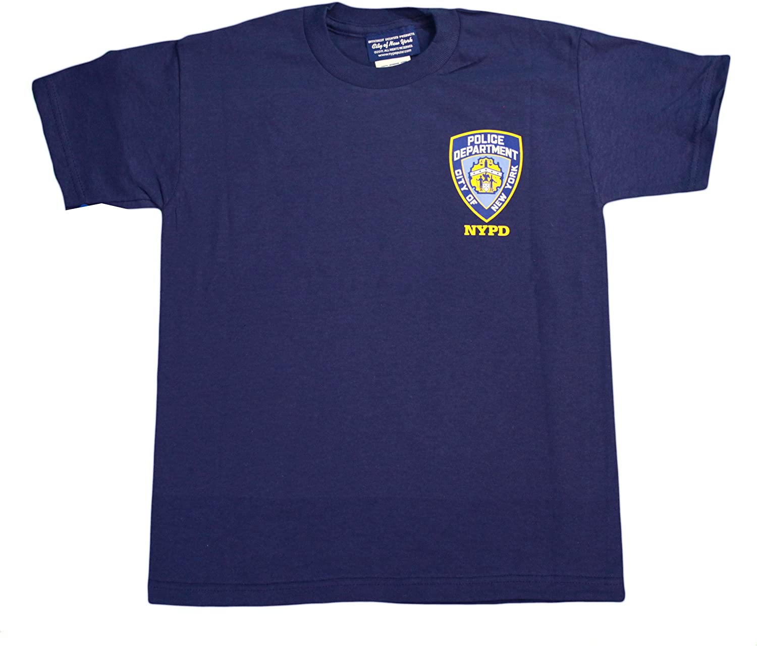NYC FACTORY NYPD Kids Short Sleeve Screen Print Police Back T-Shirt Navy Yellow