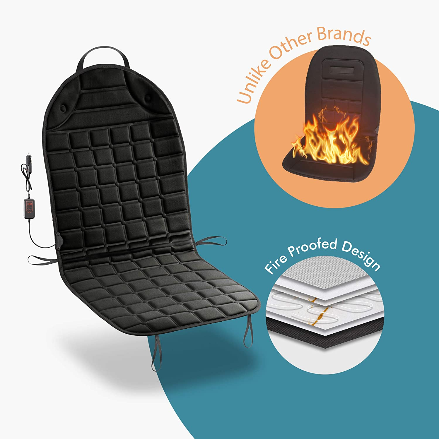 Fireproof New and Improved 2019 Version 12V Heating Warmer Pad Cover Perfect for Cold Weather and Winter Driving 4350394586 Zone Tech Car Heated Seat Cover Cushion Hot Warmer