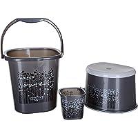 Nayasa 3 Piece Plastic Bathroom Bucket, Mug and Stool Set, Black