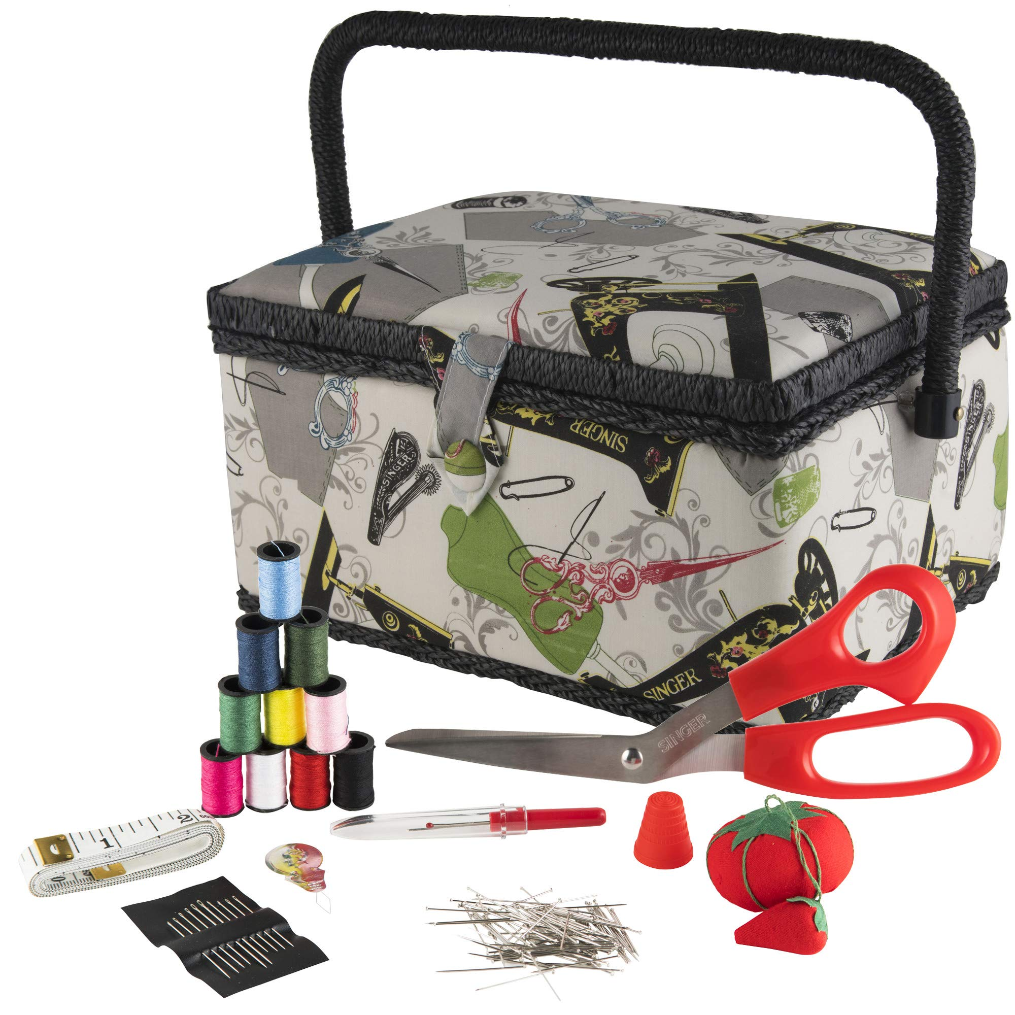 SINGER 07281 Vintage Sewing Basket with Sewing Kit Accessories by SINGER