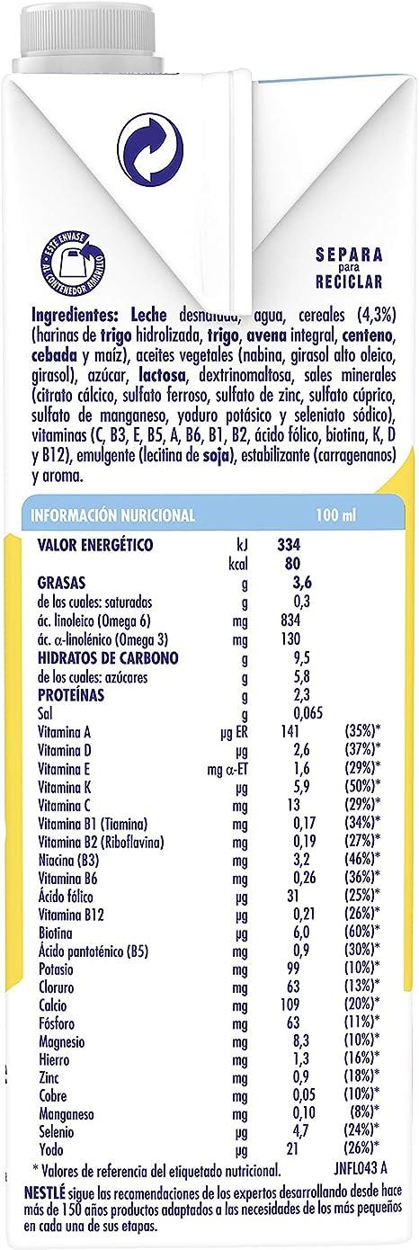 Nestlé Junior 1+ Cereales Leche para niños a partir de 1 año - 1l: Amazon.es: Alimentación y bebidas