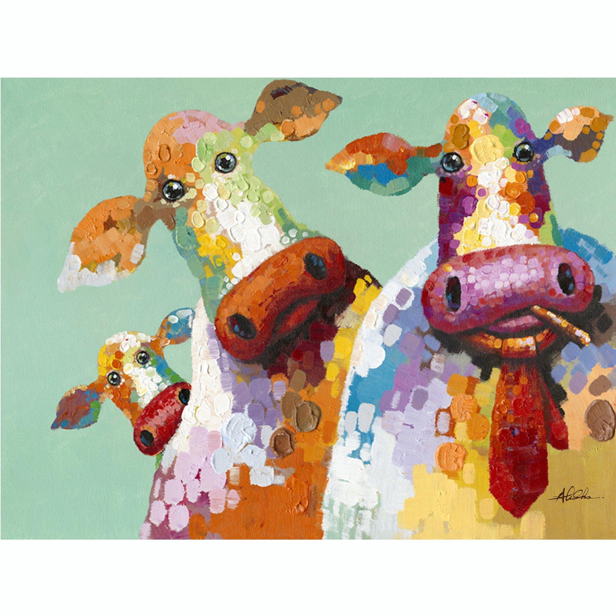Y Decor ARTAC0583C Curious Cows Hand Painted Artwork, Large, Multicolor by Y Decor
