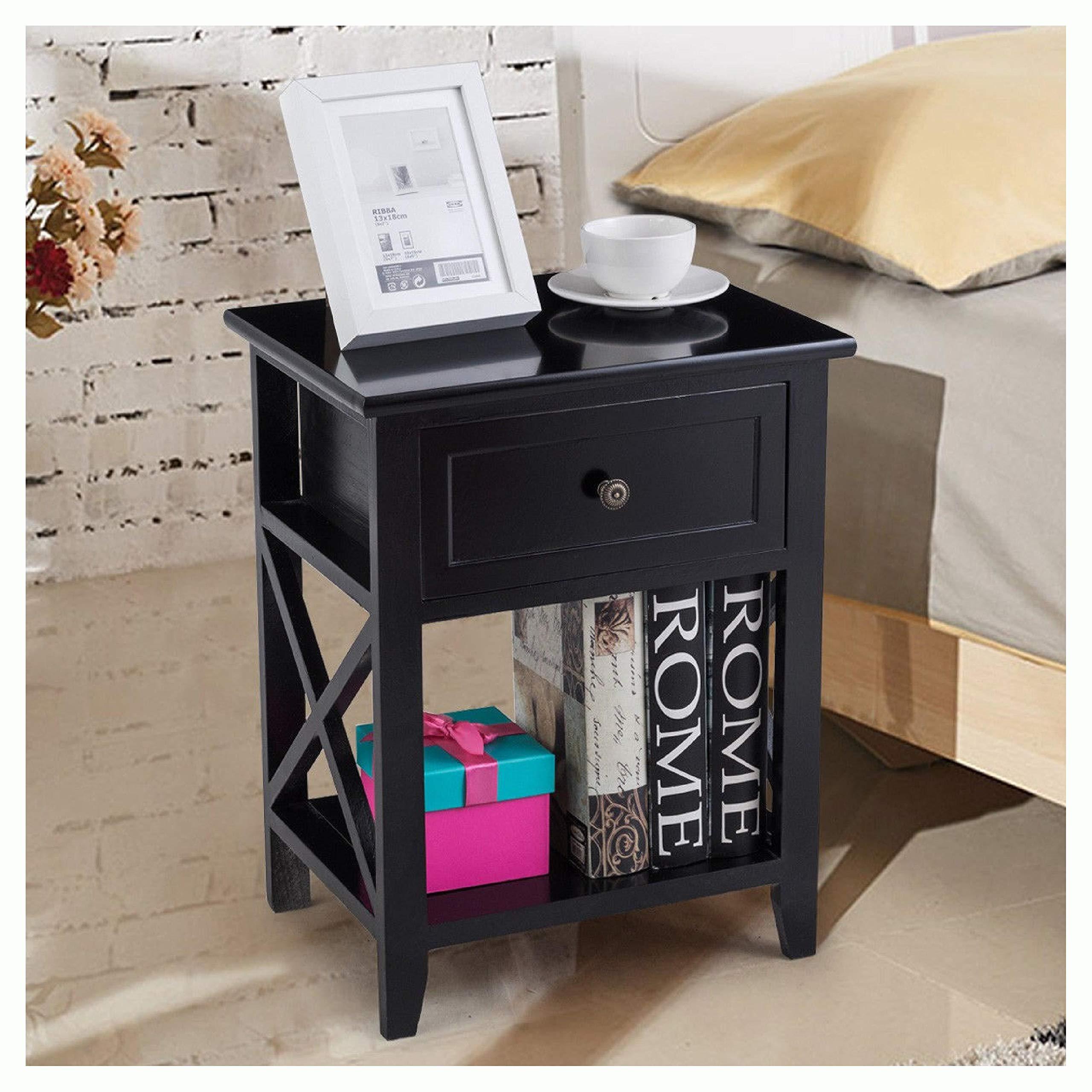 Nightstand, Bedside Storage Nightstand with Drawer and Bottom Shelf, Black