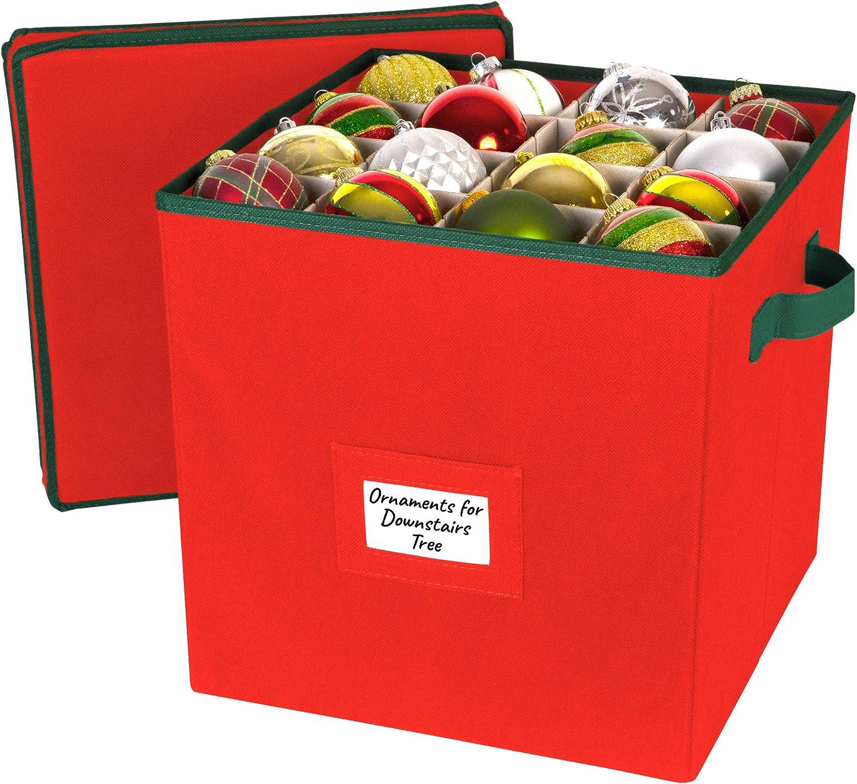 cierre con cremallera con dos asas divisores ajustables Atractiva caja de almacenamiento mantiene Almacena hasta 64 adornos navide/ños Almacenamiento de adornos navide/ños