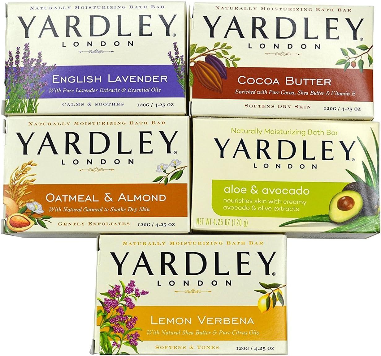 Yardley London Soap Bath Bar Bundle - 10 Bars: English Lavender, Oatmeal and Almond, Aloe and Avocado, Cocoa Butter, Lemon Verbena 4.25 Ounce Bars (Pack of 10 Bars, Two of each) : Beauty