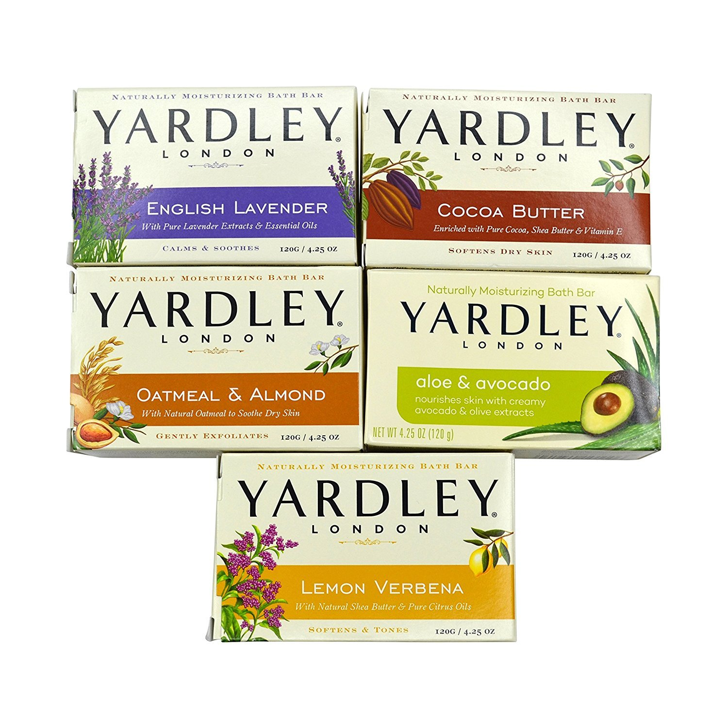Yardley London Soap Bath Bar Bundle - 10 Bars: English Lavender, Oatmeal and Almond, Aloe and Avocado, Cocoa Butter, Lemon Verbena  4.25 Ounce Bars (Pack of 10 Bars, Two of each) by Yardley