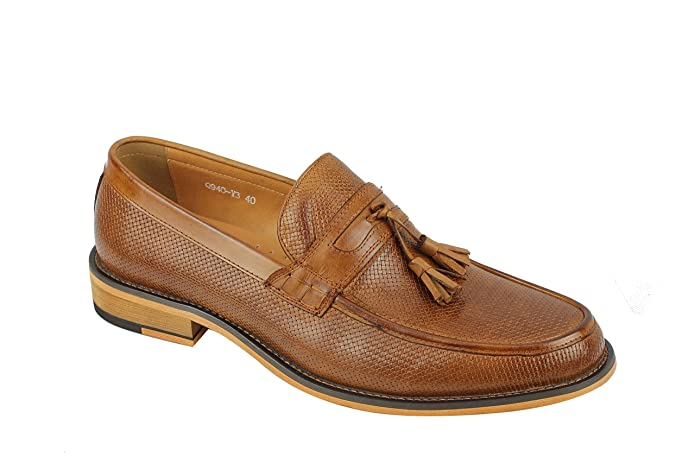 Mens Woven Textured Real Leather Classic Tassel Penny Loafers Retro MOD Shoes In Brown Black