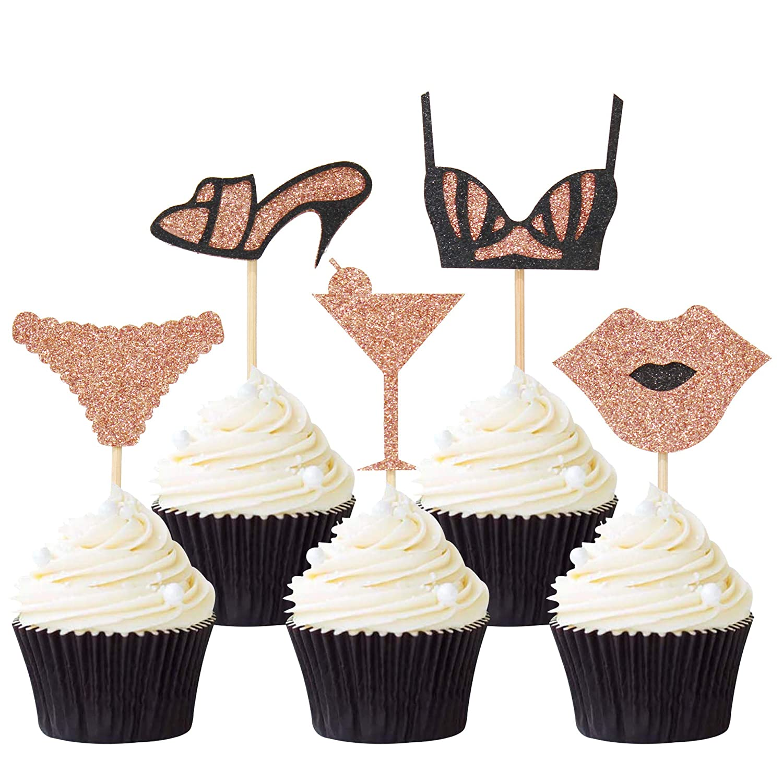 Keaziu 20PCS High Heels Bra Lingerie Cupcake Toppers Bachelorette Birthday Party Decor Supplies