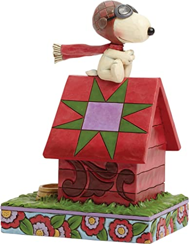 Enesco Jim Shore Peanuts Snoopy The Flying Ace on Dog House Figurine