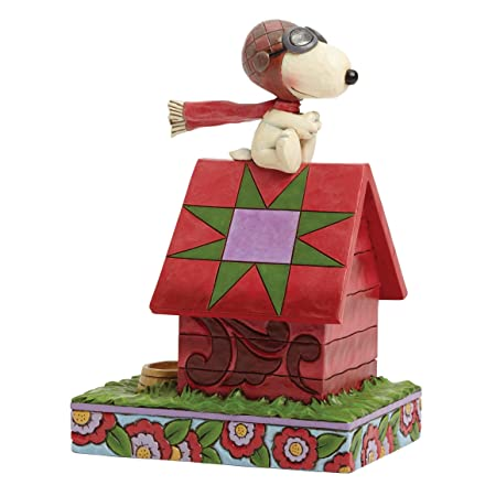 Jim Shore Peanuts Snoopy The Flying Ace on Dog House Figurine