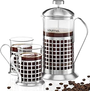 Gourmia GCM9830 French Press Coffee Maker Set 600 ml French Press Coffee Brewer With 2 Matching Stainless Steel Drinking Cups