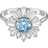 SWAROVSKI Women's Sunshine Floral, Rhodium Plated, Blue/Clear Crystal Ring Collection