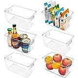 Vtopmart Clear Plastic Pantry Organizer Bins, 6 PCS Food Storage Bins with Handle for Refrigerator, Fridge, Cabinet, Kitchen,
