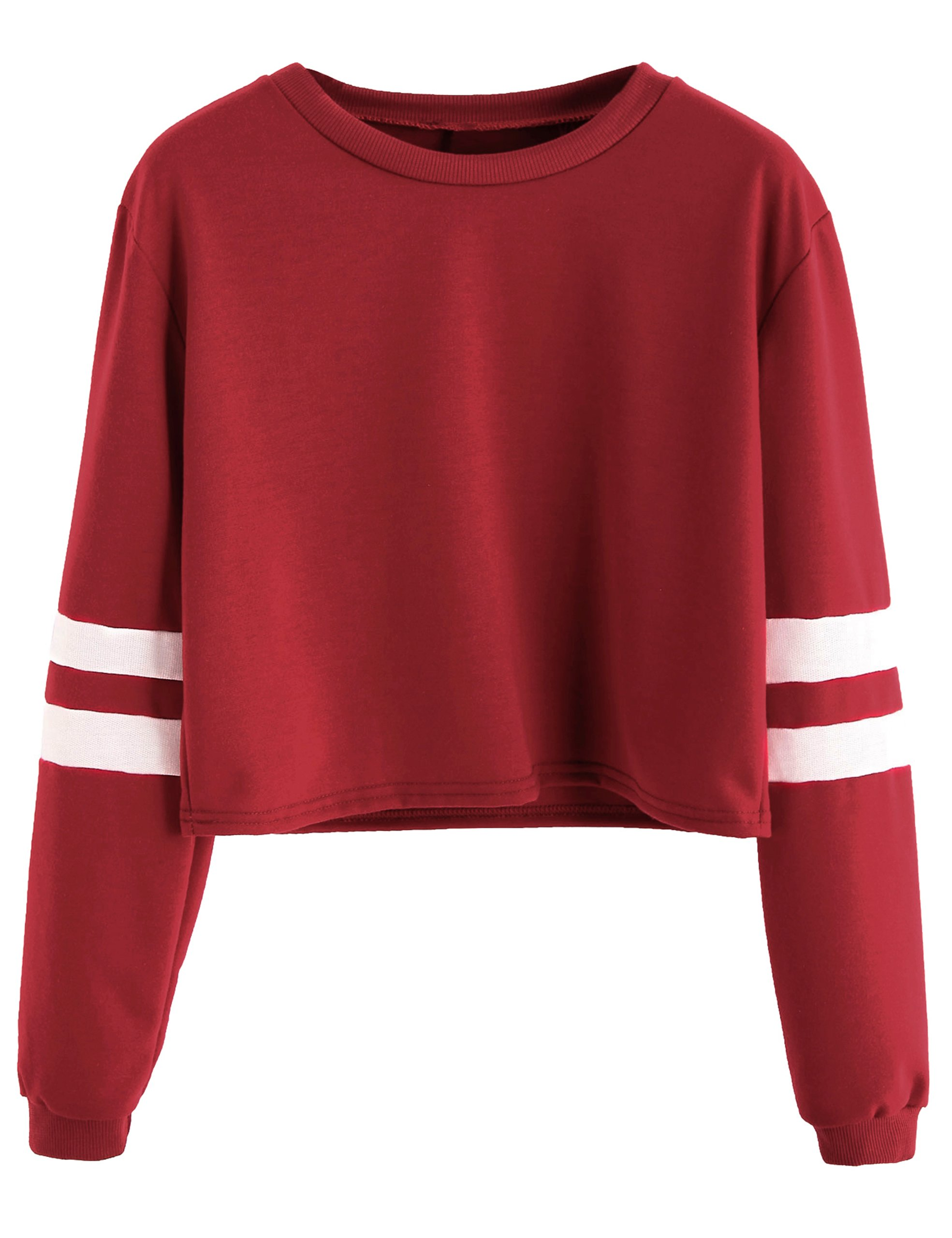 SweatyRocks Women's Striped Long Sleeve Crewneck Crop Top Sweatshirt Burgundy M