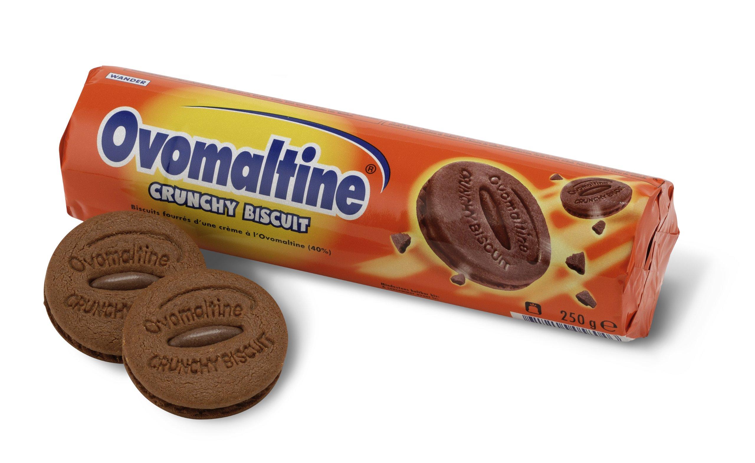 OVOMALTINE 6 Crunchy Biscuit Rolls (each 250 grams), Switzerland, total 1500 grams.