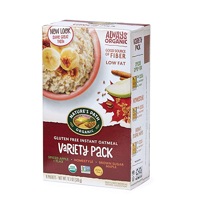 Nature's Path Instant Oatmeal Variety Pack, Healthy, Organic, Gluten Free, 8 Pouches per Box, 11.3 Ounces (Pack of 6)