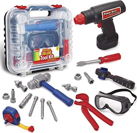 Children Boy Battery Operated build /& work Head Drill /& 6 Bit Tool Play Toy Xmas