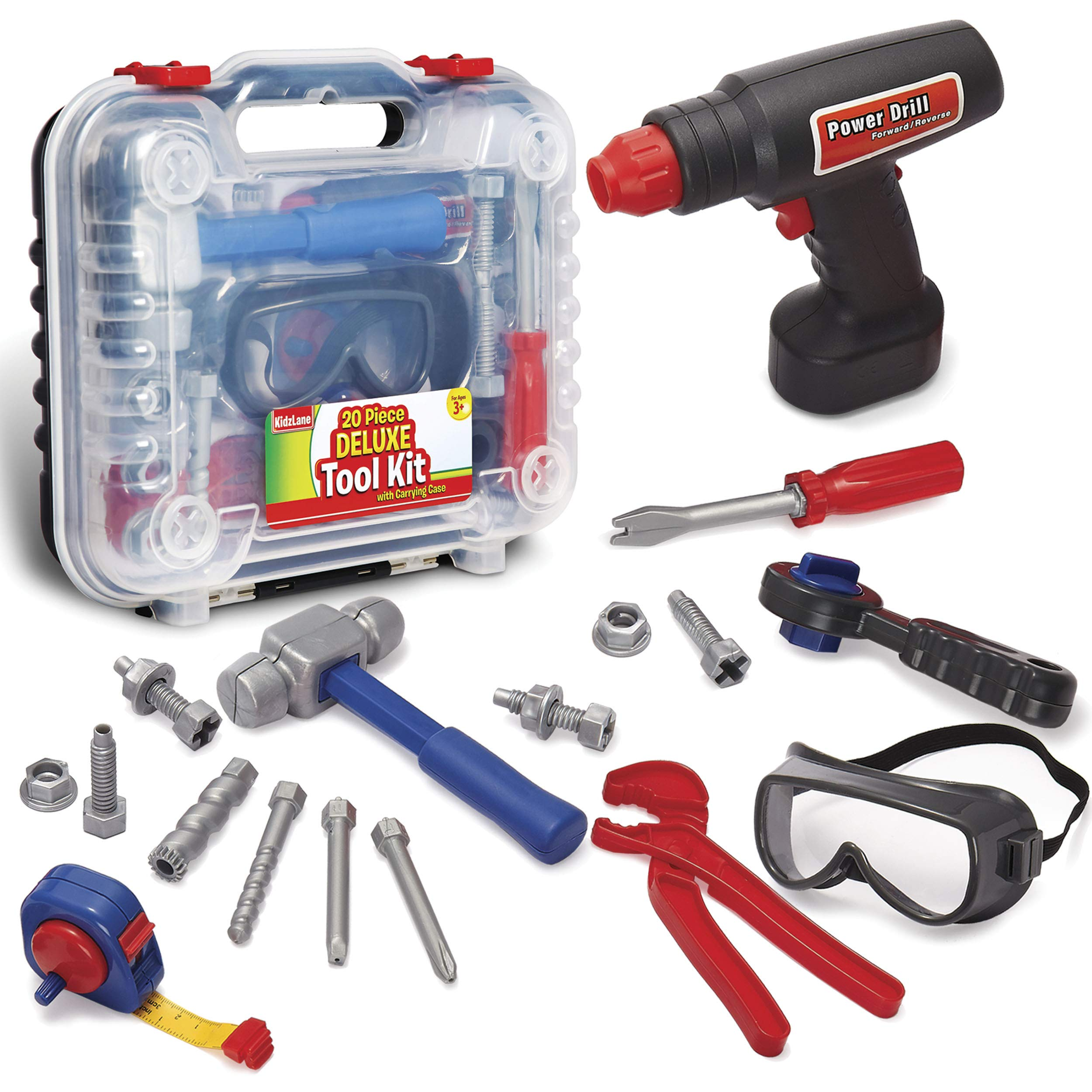 Durable Kids Tool Set with Electronic Cordless Drill and 18 Pretend Play Construction Accessories, with a Sturdy Case by Kidzlane